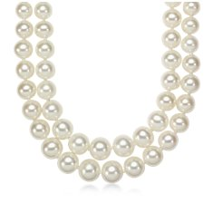 Double-Strand Graduated Freshwater Cultured Pearl Necklace with 14k White Gold (5.5-9.5mm)