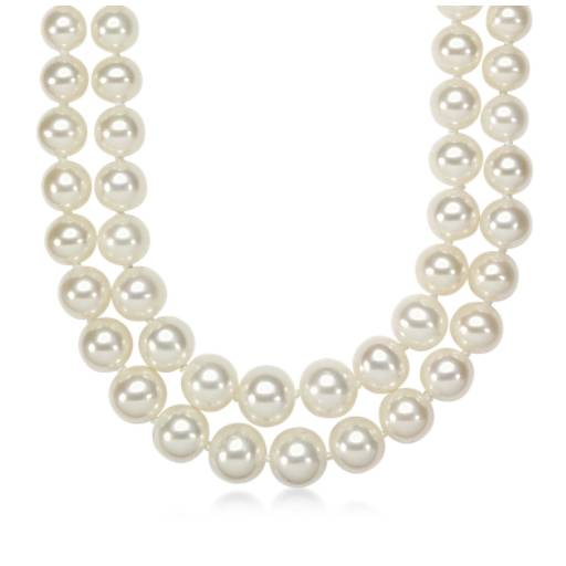 Collier de perles de culture d'eau douce graduées double rang avec or blanc 14carats (5,5-9,5 mm)