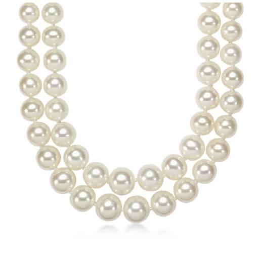 Collar de dos vueltas de perlas graduadas cultivadas de agua dulce con oro blanco de 14k (5,5-9,5 mm)