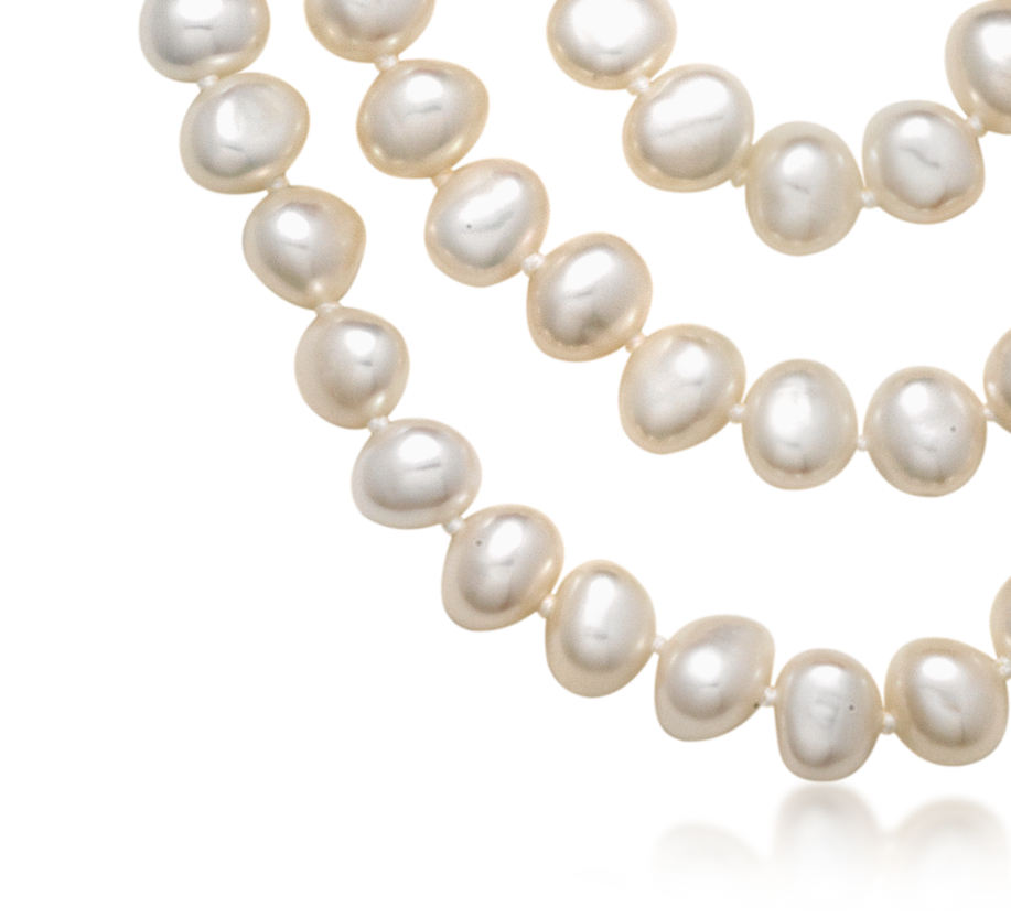 Three-Strand Baroque Freshwater Cultured Pearl Necklace with Sterling Silver (7.5mm)