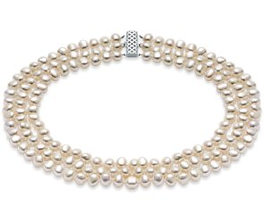 Three-Strand Baroque Freshwater Cultured Pearl Necklace with Sterling Silver