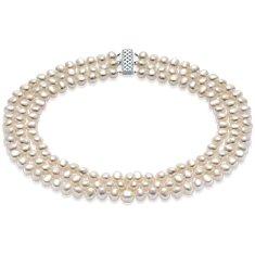 Collar de tres vueltas de perlas barrocas de agua dulce con plata de ley (7,5mm)