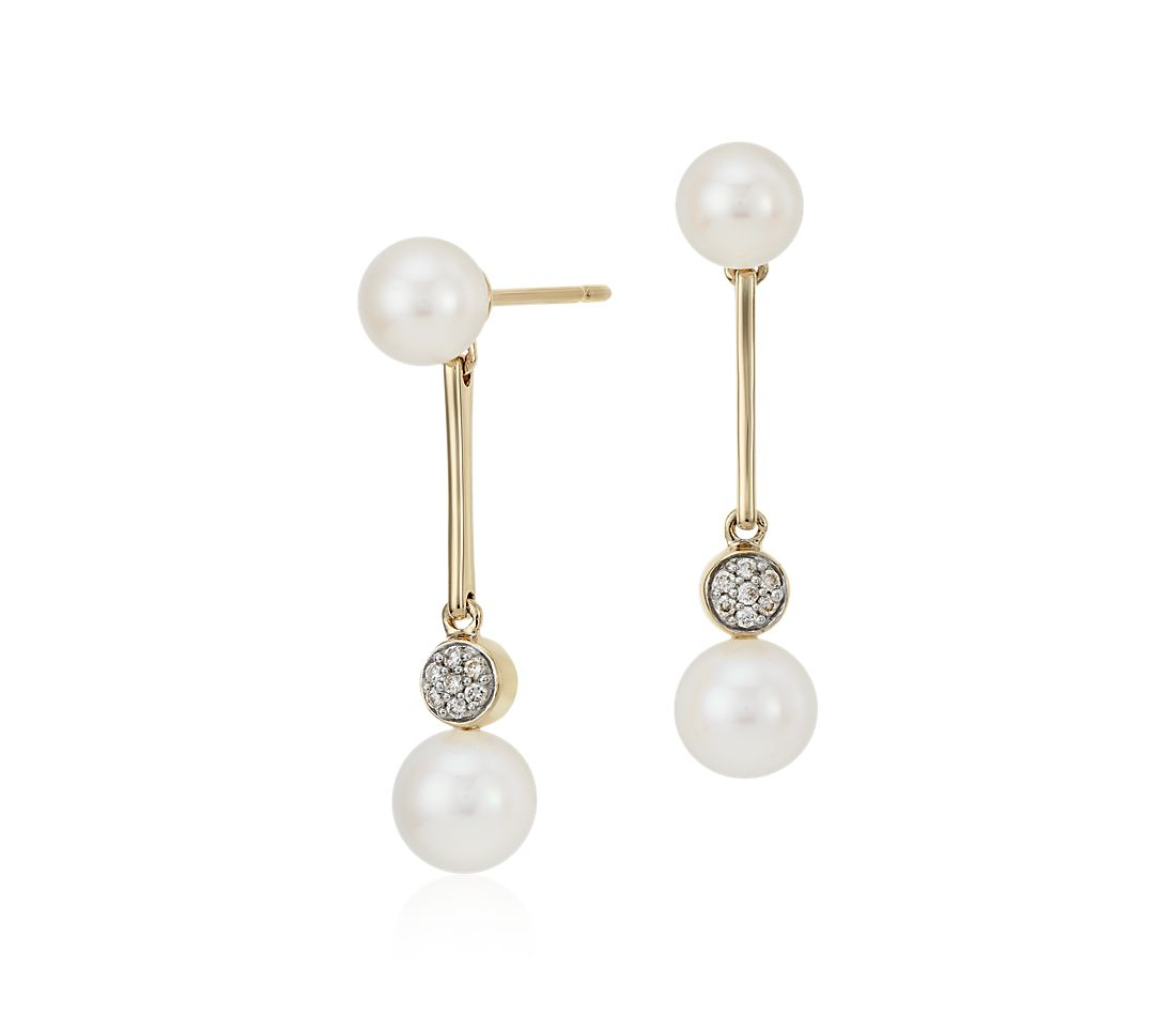 Freshwater Cultured Pearl and Pavé Diamond Bar Earrings in 14k Yellow Gold