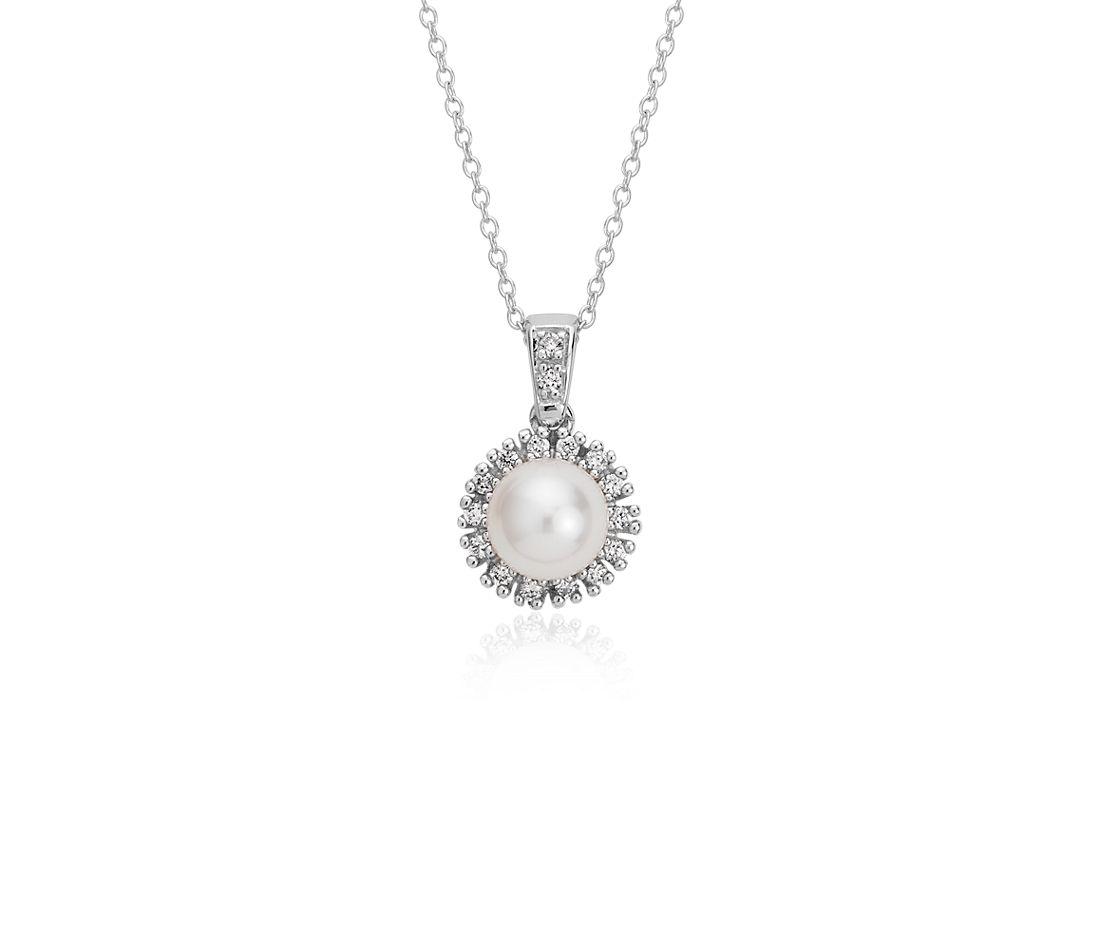 Pendentif halo diamant et perle de culture d'eau douce en or blanc 14carats