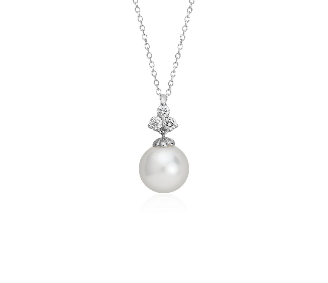 South Sea Cultured Pearl and Diamond Pendant in 18k White Gold