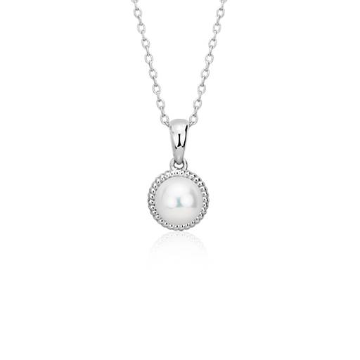 Freshwater Cultured Pearl Rope Pendant in Sterling Silver (7mm)