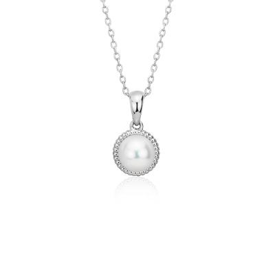 Pendentif corde en perles de culture d'eau douce en argent sterling (7mm)
