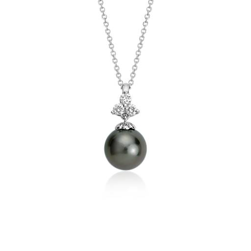 Tahitian Cultured Pearl and Diamond Pendant in 18k White Gold