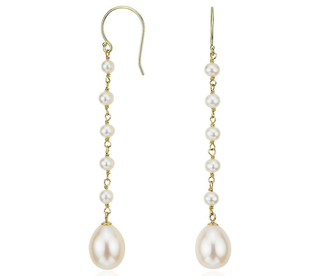 Pendants d'oreilles de perles de culture d'eau douce en or jaune 14carats