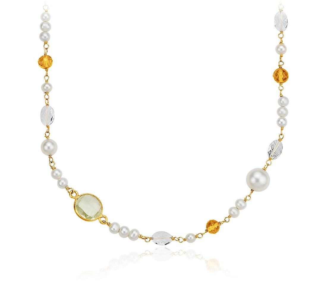 Freshwater Cultured Pearl, White Quartz, and Citrine Necklace in Gold Vermeil