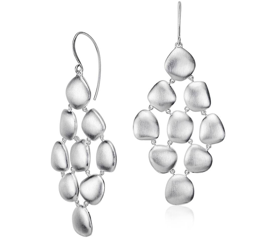 Pebble Chandelier Dangle Earring in Sterling Silver