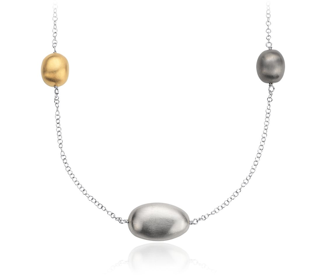 Matte Pebble Necklace in Sterling Silver and Yellow Gold Vermeil - 34""