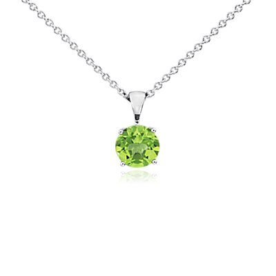 NEW Peridot Solitaire Pendant in 14k White Gold (7mm)