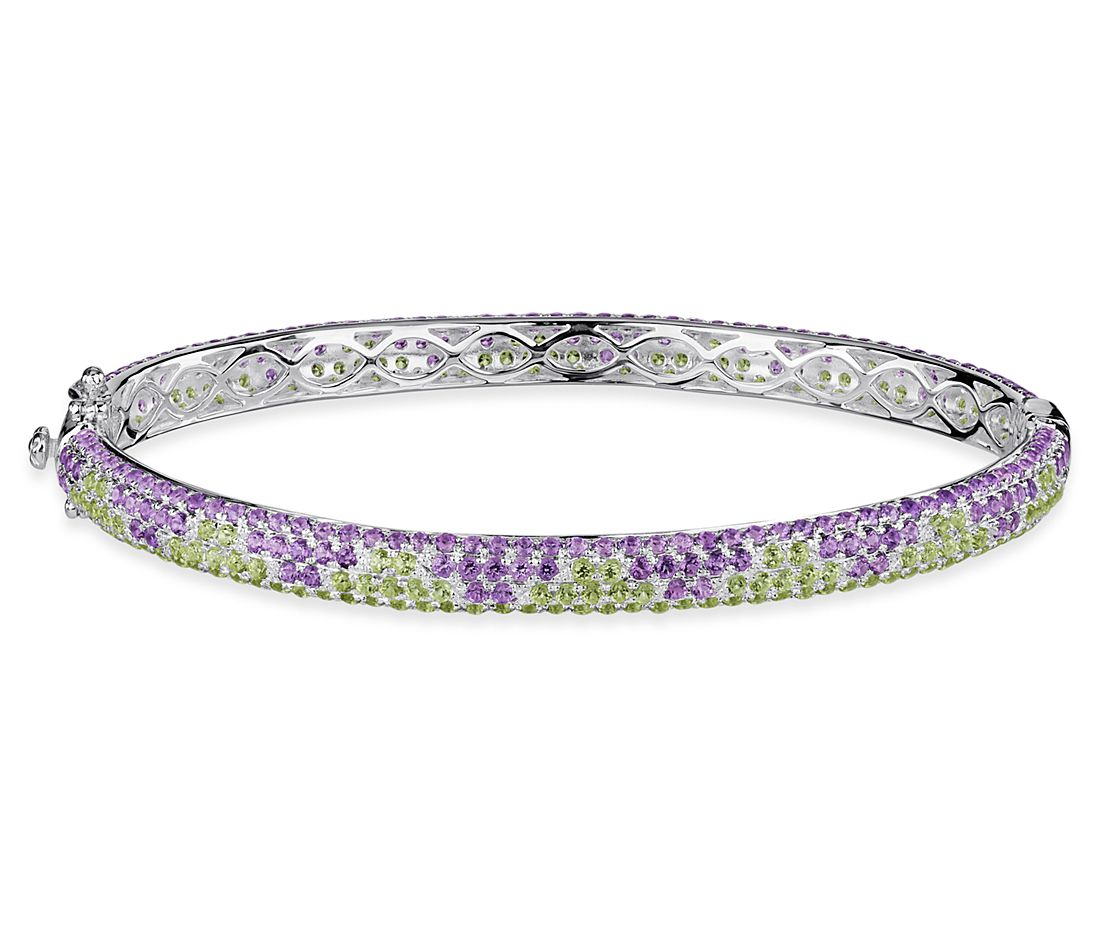 Peridot and Amethyst Bracelet in Sterling Silver