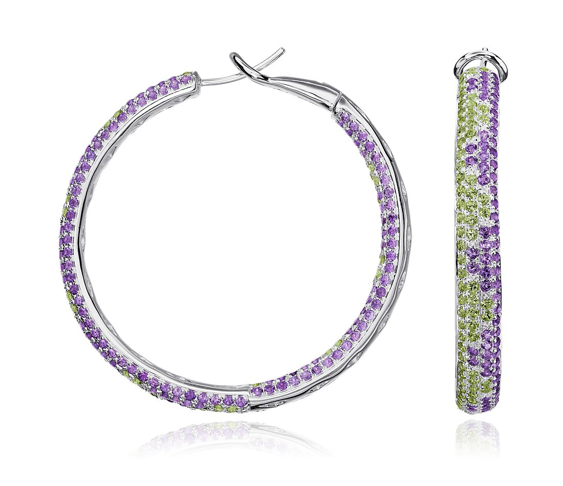 Peridot and Amethyst Hoop Earrings in Sterling Silver