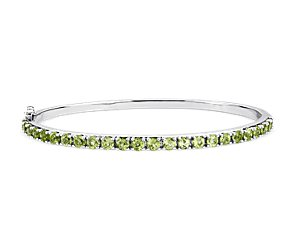 Peridot Bangle Bracelet in Sterling Silver