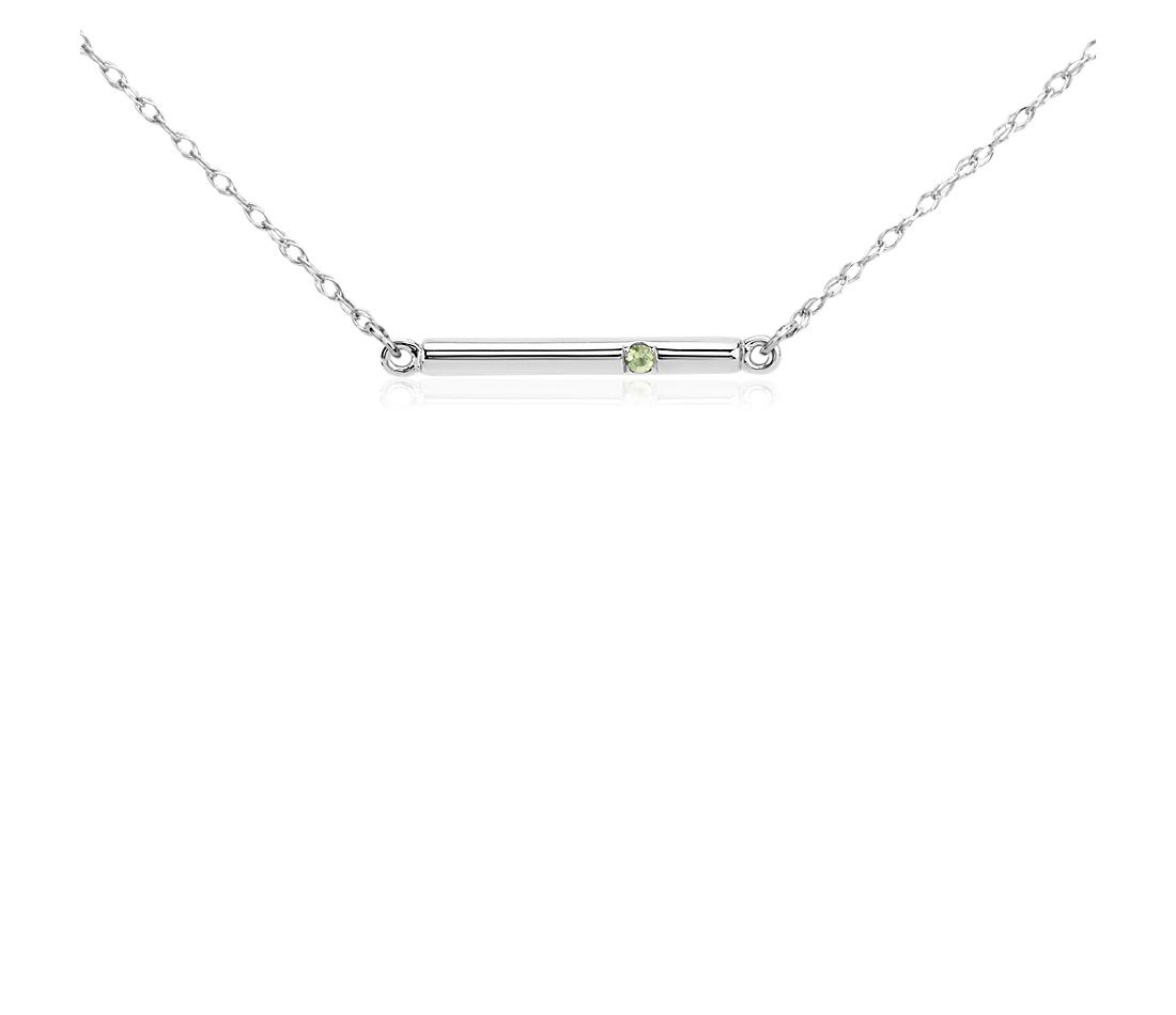 Peridot Bar Necklace in 14k White Gold