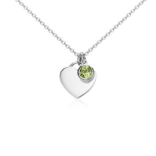 Peridot Birthstone Heart Pendant in Sterling Silver (August) (4.5x4.5mm)