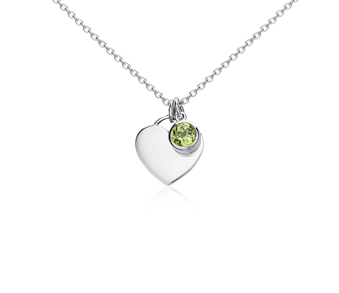 Peridot Birthstone Heart Pendant in Sterling Silver (August)
