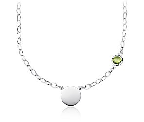 Peridot Birthstone Necklace in Sterling Silver