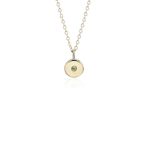 NEW Mini Peridot Birthstone Charm Pendant in 14k Yellow Gold - August (2mm)
