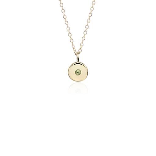 NUEVO Colgante con dije de piedra de nacimiento de peridoto pequeño en oro amarillo de 14k - Agosto (2 mm)