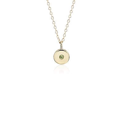 Mini Peridot Birthstone Charm Pendant in 14k Yellow Gold - August (2mm)
