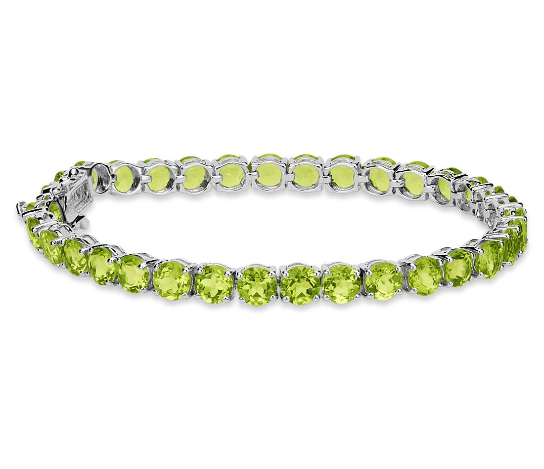 Peridot Bracelet in Sterling Silver (5mm)