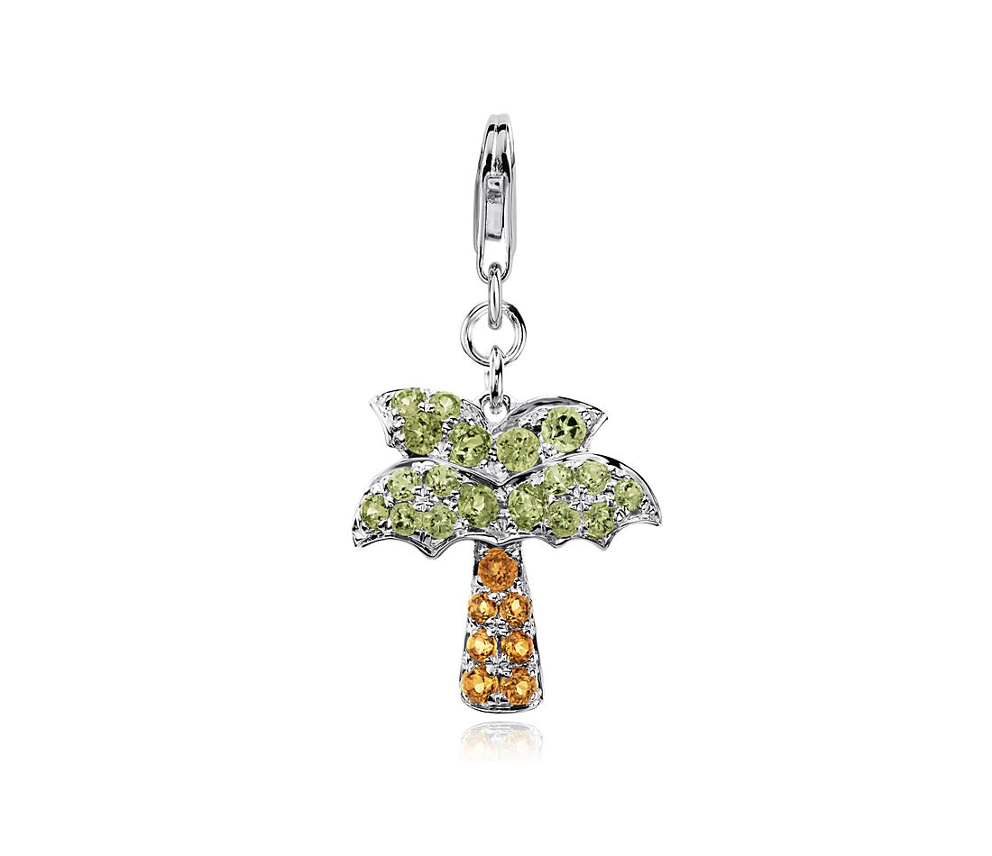 peridot and citrine palm tree charm in sterling silver