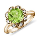 Peridot and Diamond Flower Ring in 14k Yellow Gold