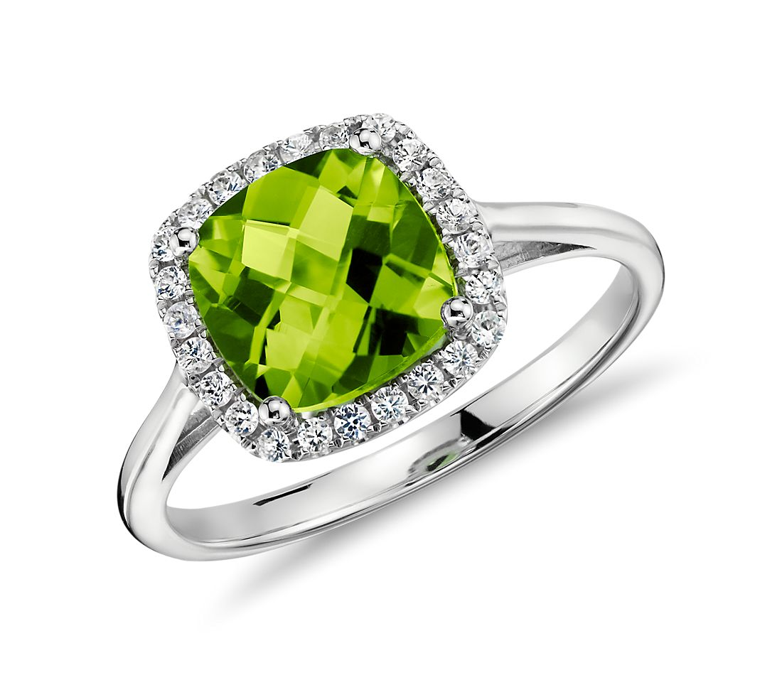 Peridot and Diamond Halo Cushion Ring in 14k White Gold (0.17 ct. tw.)