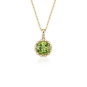 Peridot and Diamond Milgrain Halo Pendant Necklace in 14k Yellow Gold (8mm)