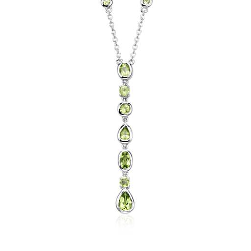 Peridot Drop Necklace in Sterling Silver