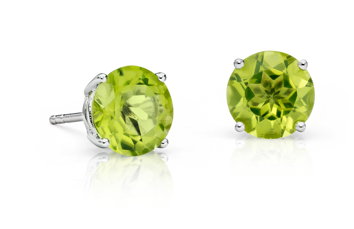Peridot Stud Earrings in 18k White Gold (7mm)