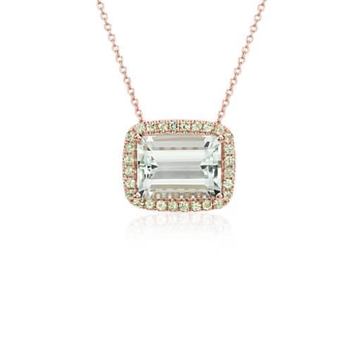 NUEVO. Collar con colgante con peridoto y halo de cuarzo verde, en oro rosado de 14k (9x12mm)