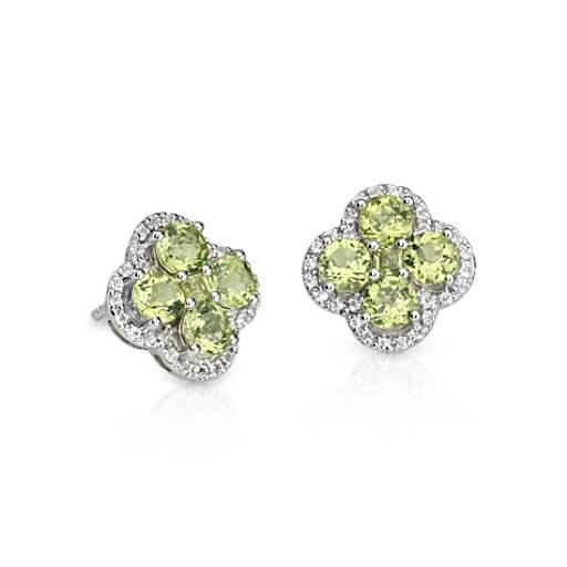 Peridot Halo Clover Earrings in Sterling Silver (4mm)
