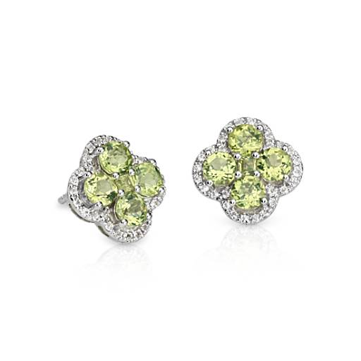 Peridot Halo Clover Earrings in Sterling Silver