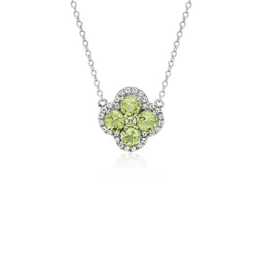 Peridot Halo Clover Necklace in Sterling Silver