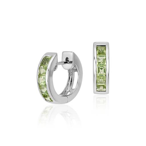Peridot Hinged Hoop Earrings in Sterling Silver (3mm)