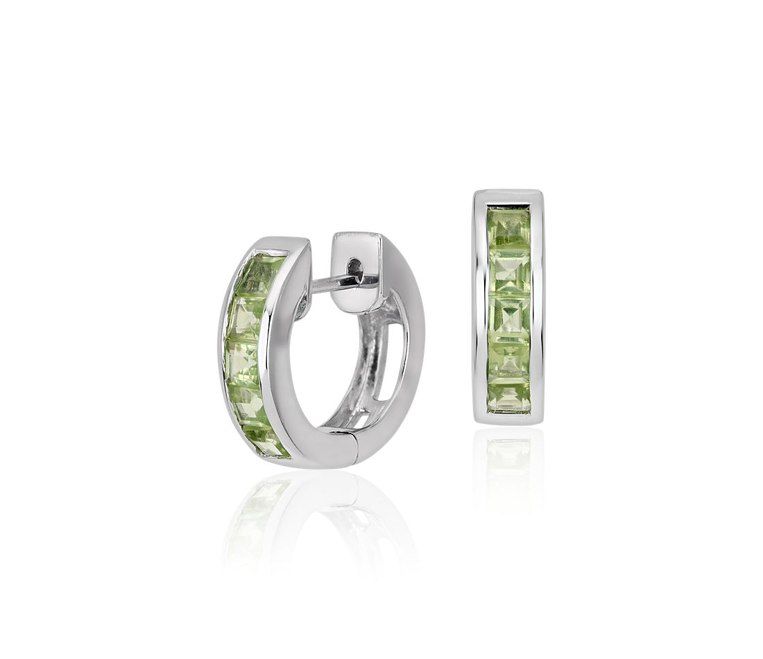 Peridot Hinged Hoop Earrings in Sterling Silver