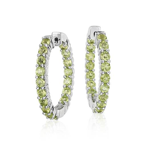 Peridot Hoop Earrings in Sterling Silver (3mm)