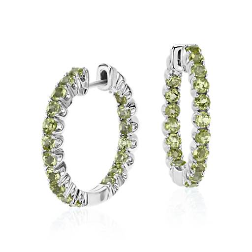 NEW Peridot Hoop Earrings in Sterling Silver (2.5mm)
