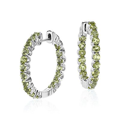 Peridot Hoop Earrings in Sterling Silver (2.5mm)