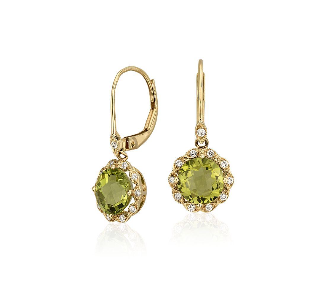 Peridot and Diamond Milgrain Halo Leverback Earrings in ...