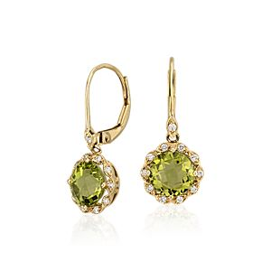 Boucles d'oreille à fermoir mousqueton mille-grains halo diamant et péridot en or jaune 14 carats (7 mm)