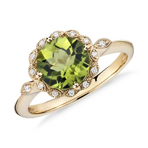 Peridot and Diamond Milgrain Halo Ring in 14k Yellow Gold (8mm)