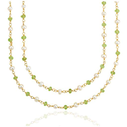Peridot and Freshwater Cultured Pearl Necklace in Gold Vermeil