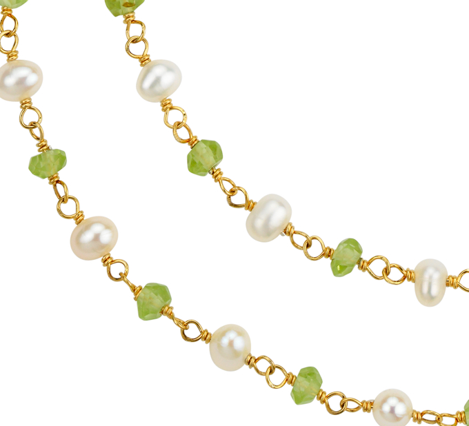 Peridot and Freshwater Cultured Pearl Necklace in Gold Vermeil (3mm)