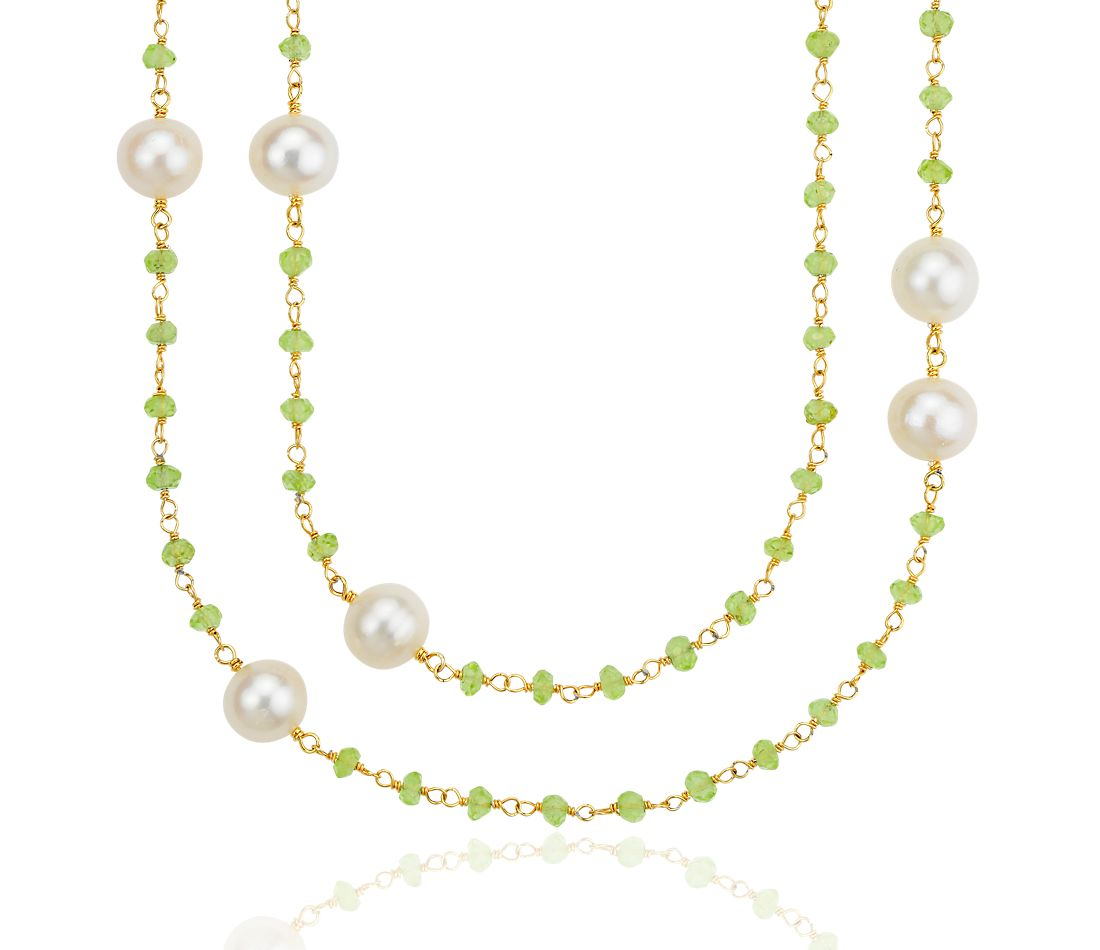 Peridot and Freshwater Cultured Pearl Necklace in 18k Yellow Gold Plated Sterling Silver