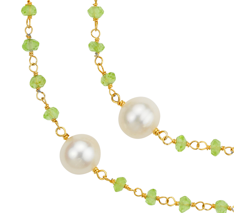Peridot and Freshwater Cultured Pearl Necklace in 18k Yellow Gold Plated Sterling Silver (8mm)